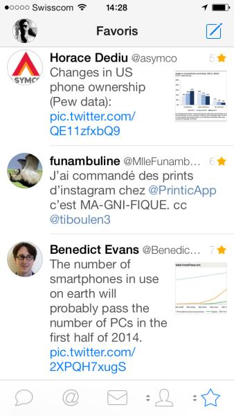 La vue des favoris de Tweetbot pour iPhone