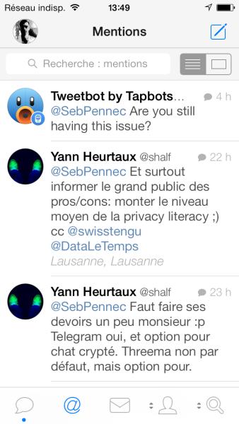 La vue des mentions de Tweetbot pour iPhone