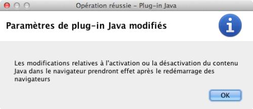 Activation du plug in Java