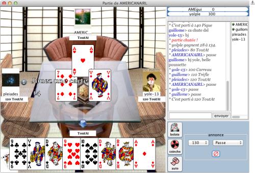 Interface du jeu Belote En Ligne