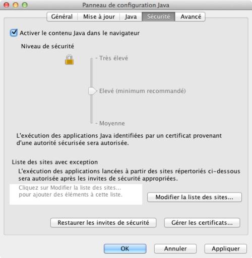 Activation du plug in Java pour les navigateurs