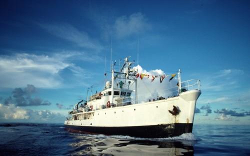 La Calypso de Cousteau, à la fin des années 80. © Cousteau Society