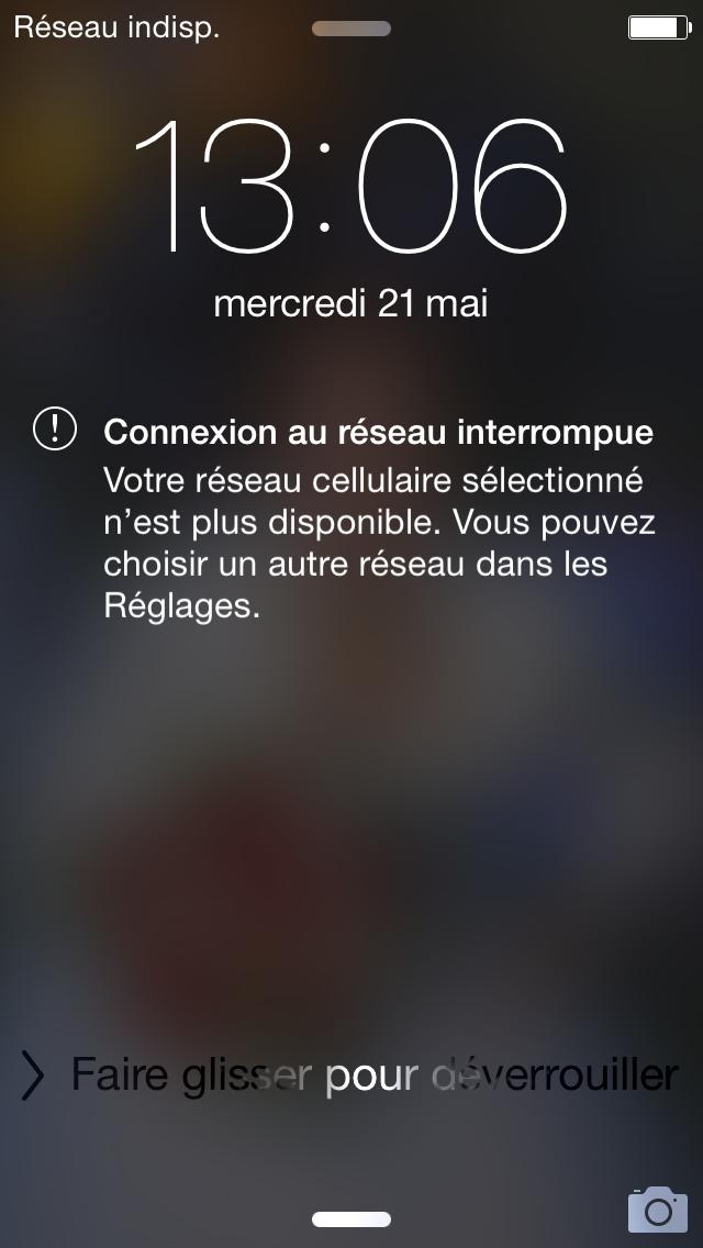Iphone  Reseau Indisponible