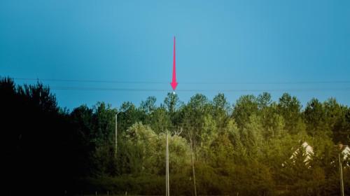 La flèche indique l'implantation de l'antenne qu'on devine derrière l'arbre