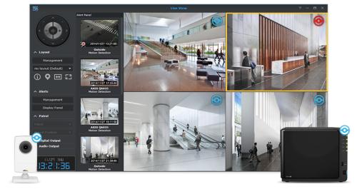 Centralisation des données de plusieurs caméra (image site web de synology)