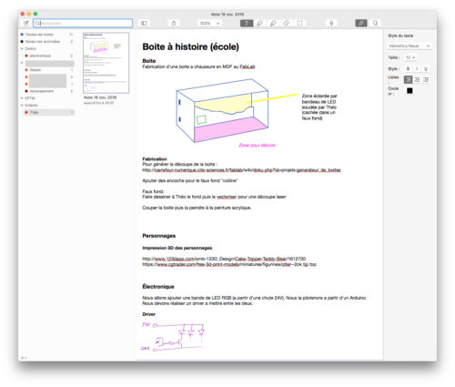 L'interface Mac de Notability